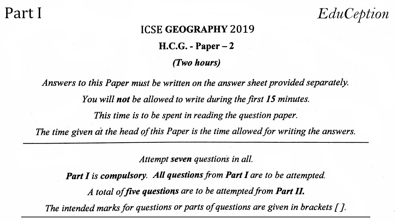 ICSE 2019 Geography Solved Question Paper - YouTube