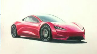 Drawing Tesla ROADSTER !!(2020) with Prismacolor