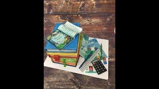 Торт стопка книг и канцелярия из мастики /how to make a cake a stack of books
