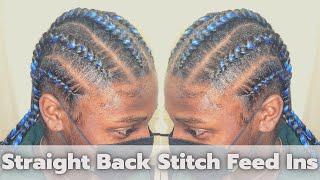 Straight Back Stitch Feed Ins | Innocence Hair Spetra EZ Braid Platinum Collection | Aiyanna Bree