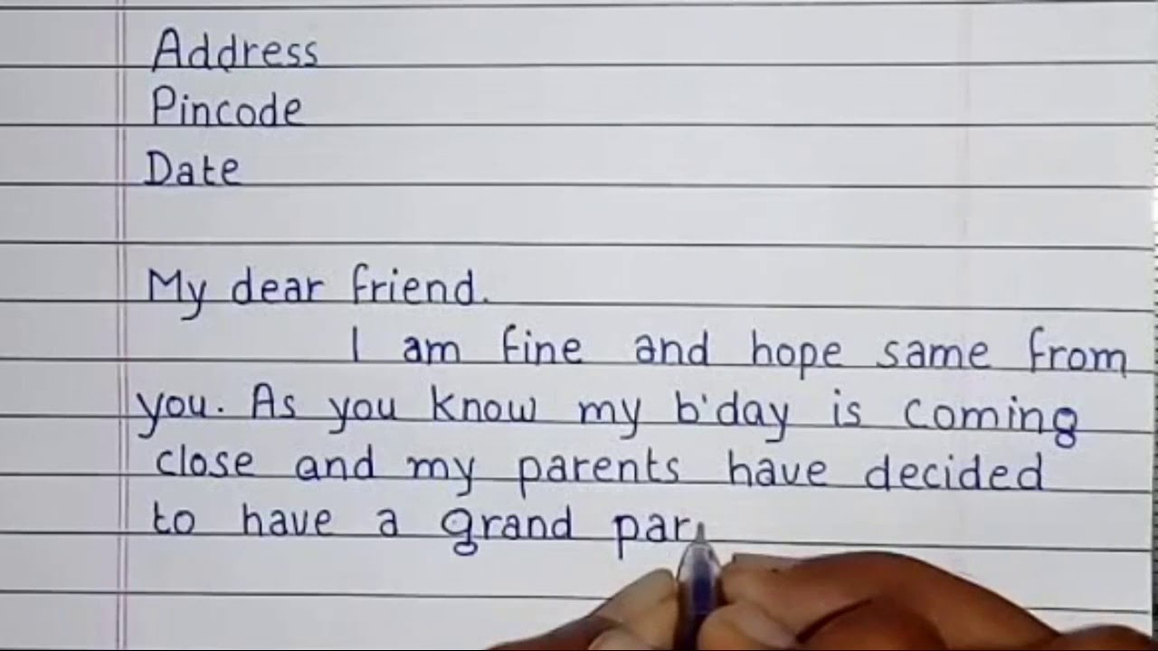write a letter to your friend to invite him on your birthday handwriting invitation letter