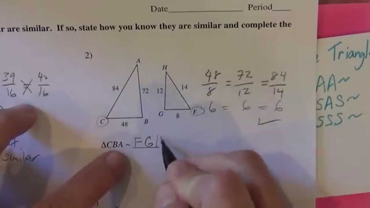 small resolution of Similar Triangles Kutasoftware #1-5 Part 1 of 2 - YouTube