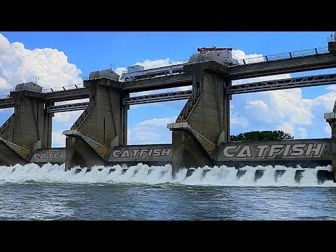 Catching Catfish Below A Huge Dam. (Hot Bite)