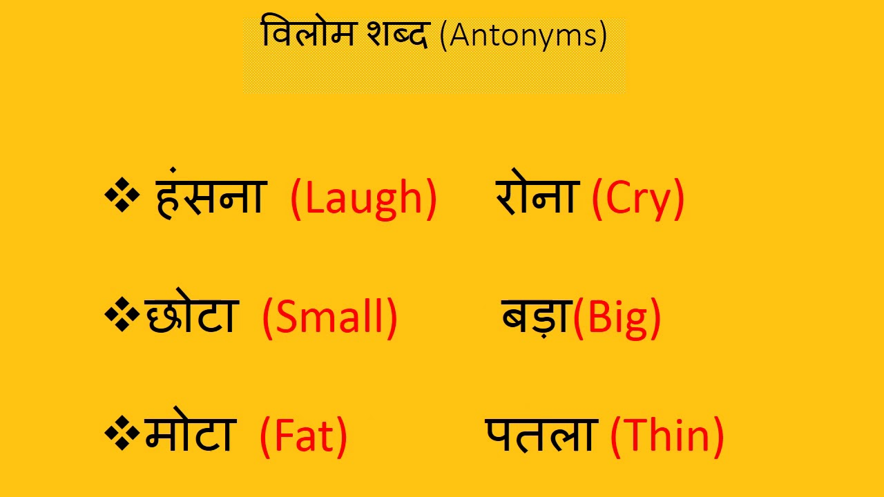 Antonyms Vilom shabd Hindi/English Class 1st - смотреть онлайн на
