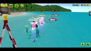 Heo hồng đi câu cá