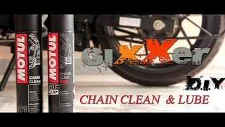 HOW TO CLEAN & LUBE O-RING CHAIN OF SUZUKI GIXXER155 with MOTUL CHAIN CLEANER &LUBE (D.I.Y)