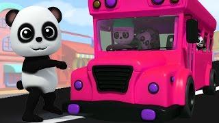 Bao gấu trúc bài hát | bánh xe trên xe buýt | vần điệu trẻ | xe buýt bài hát | The Wheels On The Bus