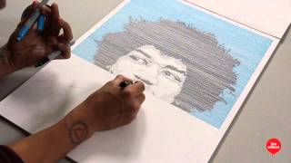 Jimi Hendrix (speed-drawing, linear portrait) - Lex Wilson