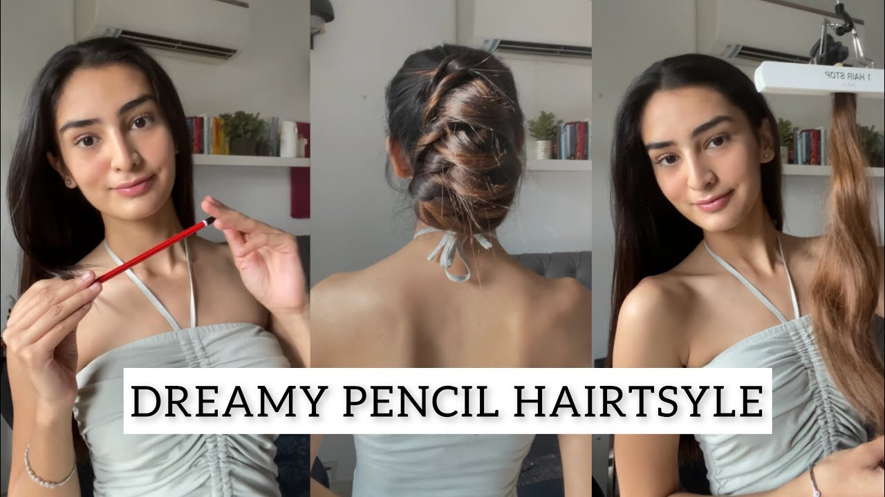 Colour Without Damage | Hairstyle With Clip-In Streaks | Easy Hairstyle Hack Using Pencil | #Shorts