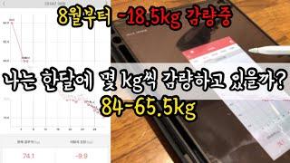[84--65.5kg 고도비만] 한달 감량은 몇 kg?…