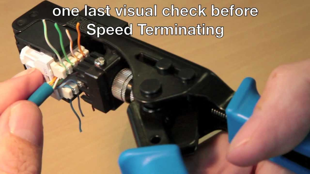 how to use the cat 6 speed termination tool youtube cat 5e jack wiring diagram cat 6 jack wiring tools [ 1280 x 720 Pixel ]