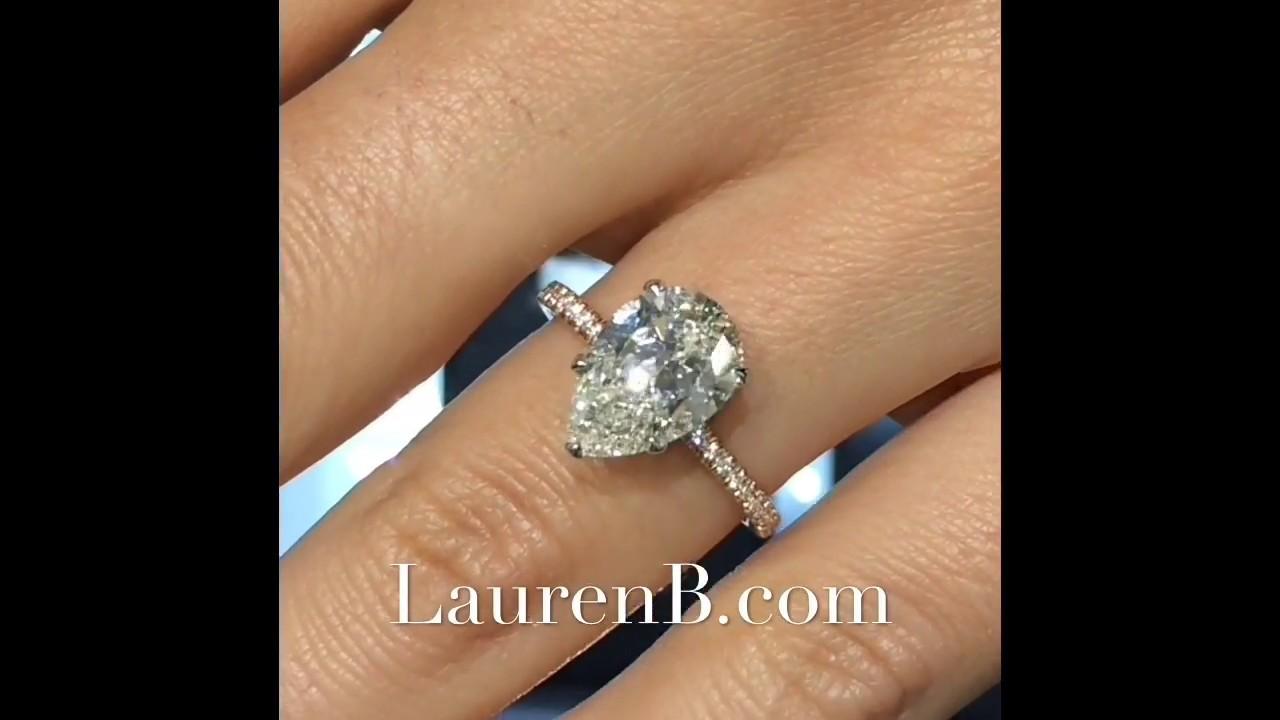 3 Carat Pear Shape Diamond Engagement Ring Youtube