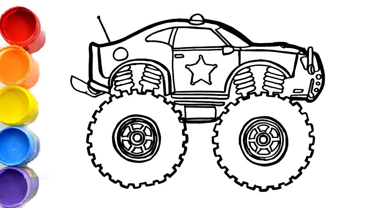 Cara Menggambar Dan Mewarnai Mobil Police Dengan Ban Besar Drawing Vehicles Youtube