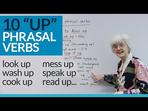 "Learn 10 English PHRASAL VERBS with ""UP"": dress up, wash up, grow up..."