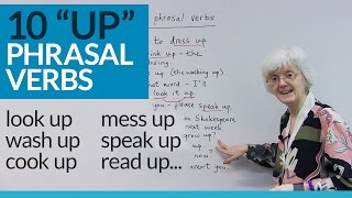 """Learn 10 English PHRASAL VERBS with """"UP"""": dress up, wash up, grow up..."""