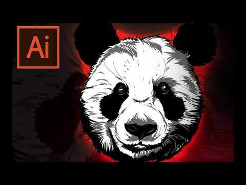 [Speed Digital Art] CARTOON TUTORIAL (in ADOBE ILLUSTRATOR)🤐-PANDA thumbnail