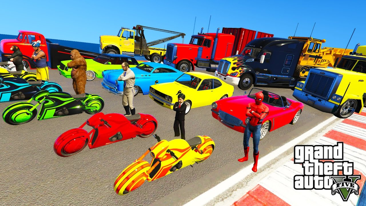 GTA V New Double Mega Ramps With Trevor ,Franklin And Bigfoot By Motorcycles, Muscle Cars, Trucks