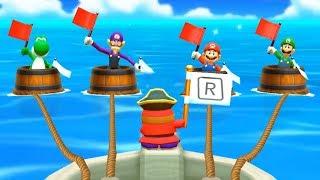 Mario Party The Top 100 Minigames - Yoshi Vs Waluigi Vs Mario Vs Luigi All Minigames (Master Cpu)