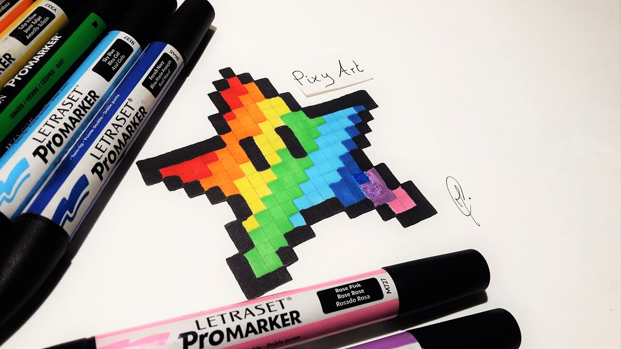 how to draw rainbow star mario pixel art easy youtube