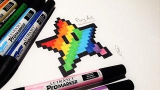 How to Draw Rainbow Star Mario - Pixel Art (Easy !)