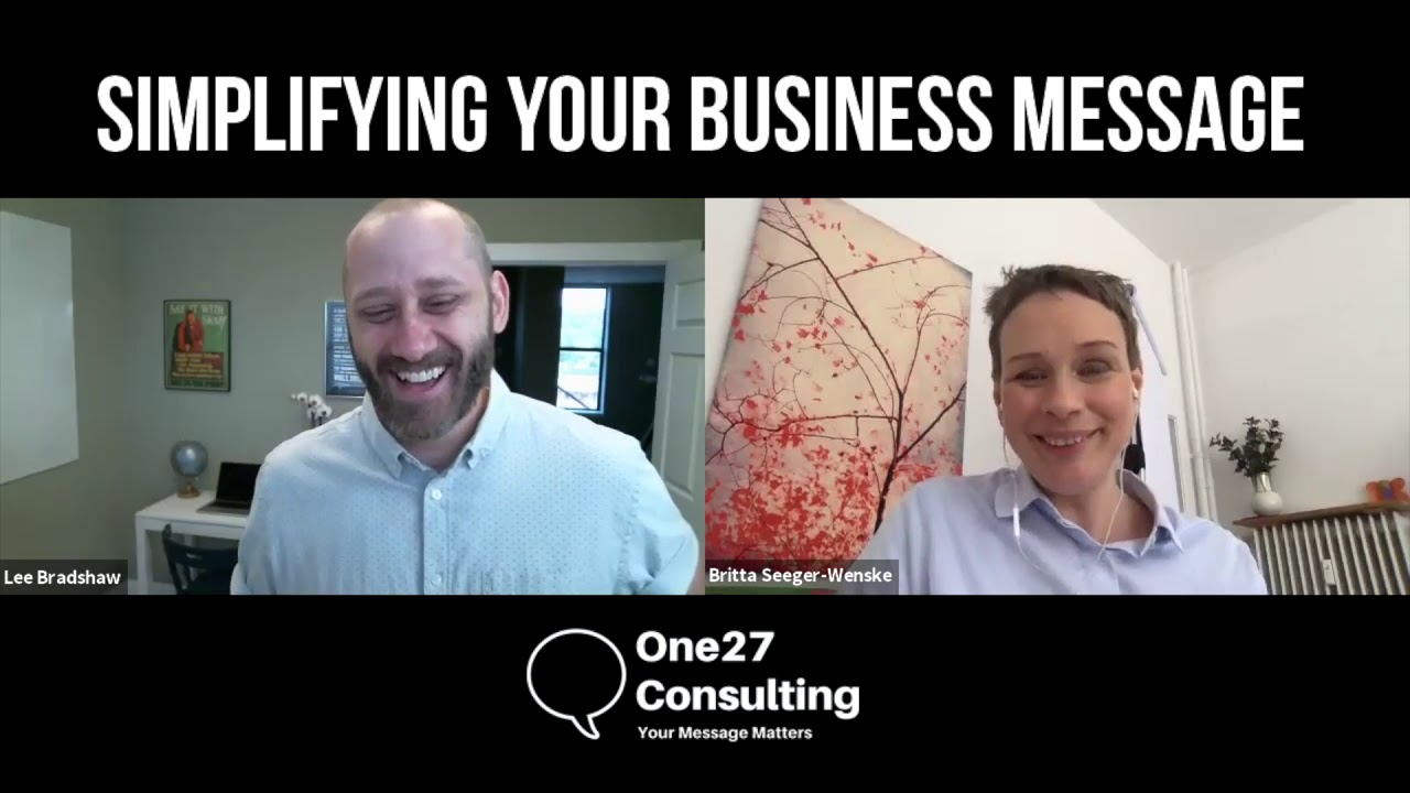 Helping Britta to gain clarity on her business message - One27consulting