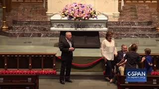 Former President George H.W. Bush greets mourners (C-SPAN)