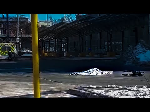 Woman crushed by bus - fatal aftermath *WARNING GRAPHIC FOOTAGE* Hamilton, Ontario GO station.