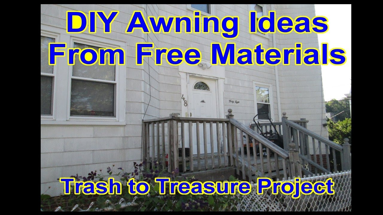 DIY - Front Door Canopy Awning - Metal Roof - Trash to Treasure Idea Video 1  sc 1 st  YouTube : metal canopies and awnings - memphite.com