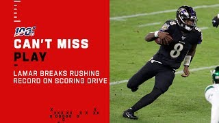 Lamar Jackson Breaks Single-Season QB Rushing Record on TD Drive