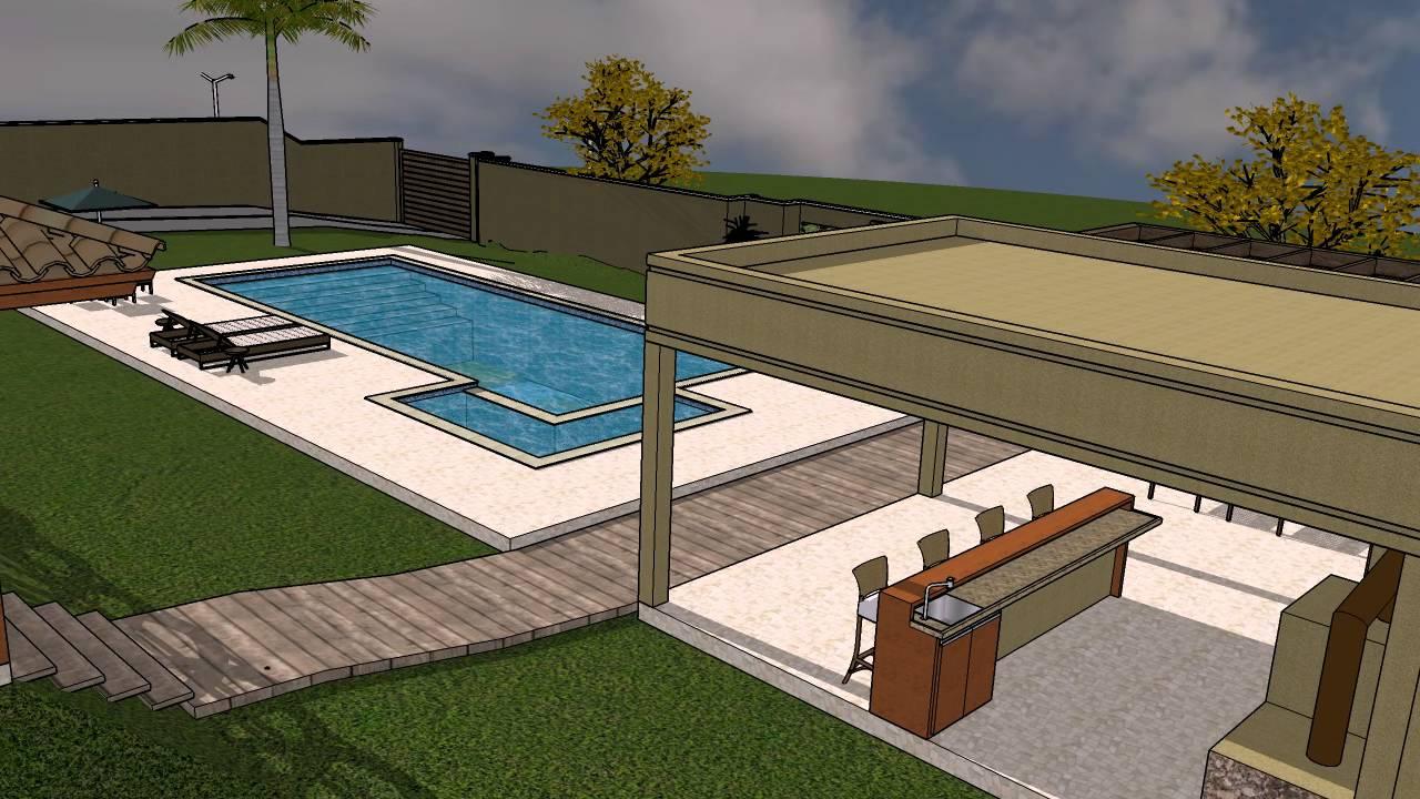 Projeto 1 sobrado deck piscina sketchup youtube for Sketchup deck design