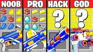 Minecraft Battle: NERF GUN WAR CRAFTING CHALLENGE - NOOB vs PRO vs HACKER vs GOD ~ Animation
