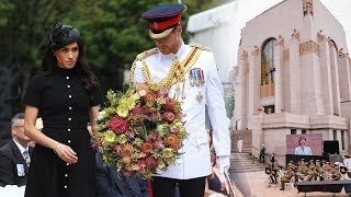Pregnant Meghan & Prince Harry step out to open Anzac memorial on royal tour