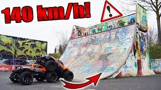 SKATEPARK CHALLENGE mit 1000€ RC Auto geht SCHIEF! | 140 km/H HIGHSPEED Rekord mit Arrma Infraction!