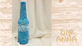 Christmas decoupage shabby chic texture bottle with toilet paper DIY ideas decoration craft tutorial