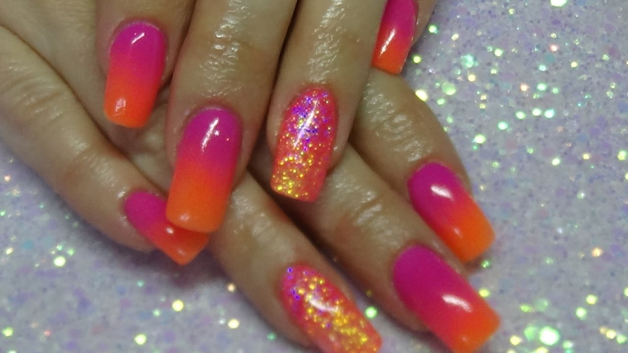 bright neon ombre acrylic nails - YouTube