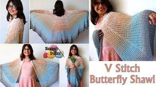 V stitch Butterfly Shawl - Right Handed Crochet Tutorial