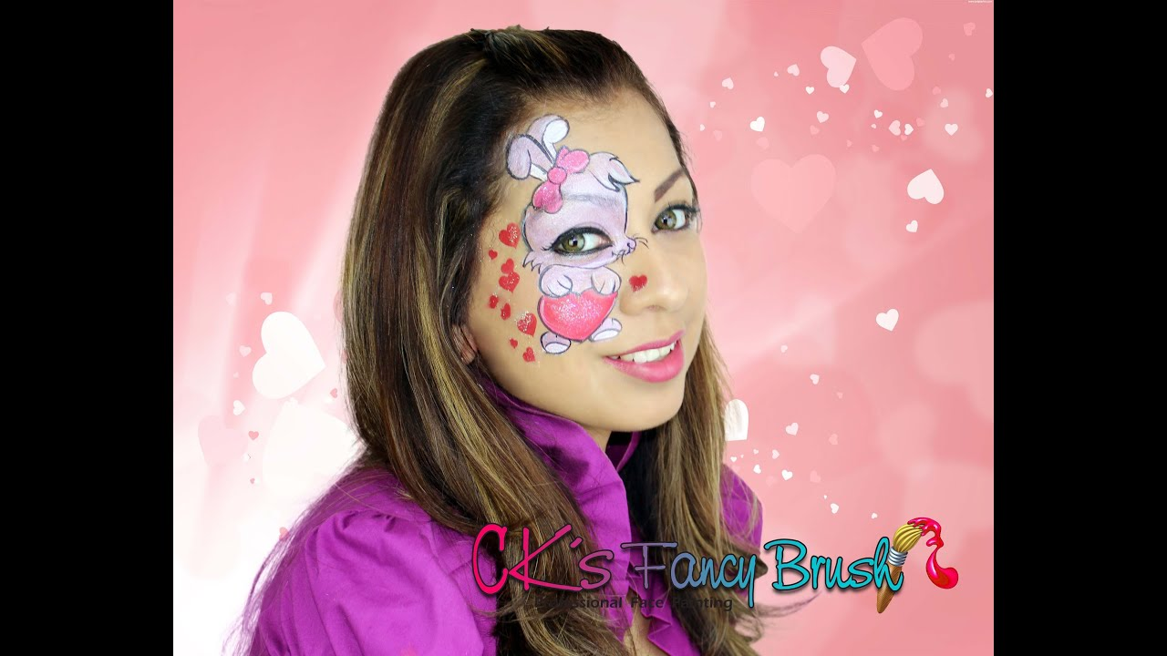 Valentines bunny face painting tutorial Tutorial de face