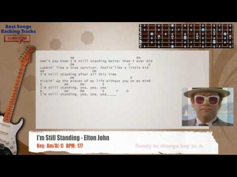I'm Still Standing - Elton John Guitar Backing Track with chords and lyrics