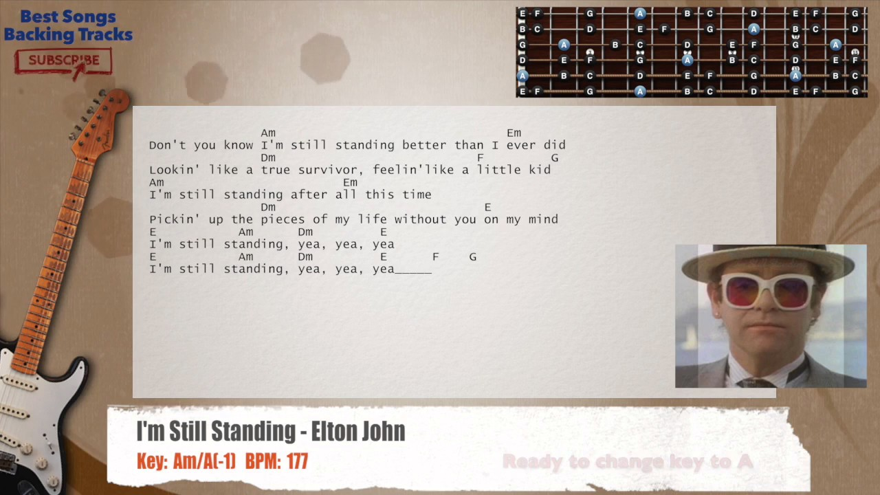 Im Still Standing Elton John Guitar Backing Track With Chords And