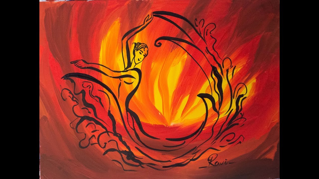 Fire Dancing Girl Poster Color Painting Youtube
