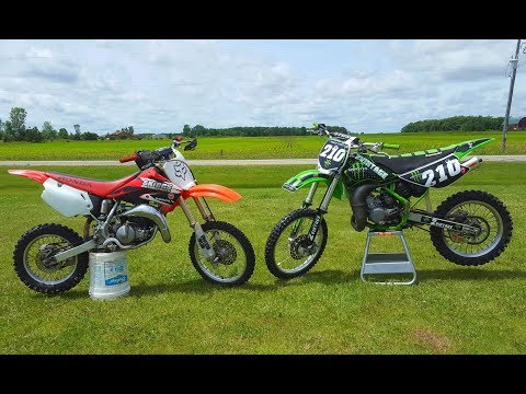 Kawasaki Kx 100 vs Honda Cr 85!!!