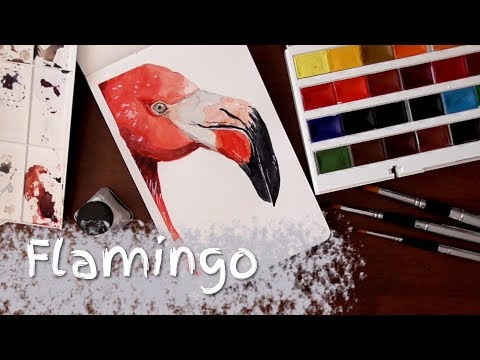 Flamingo Watercolor Painting - testing out new travel brushes [Timelapse]
