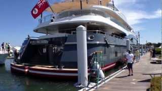 Superyacht Kismet docking at the Palm Beach International Boat Show.