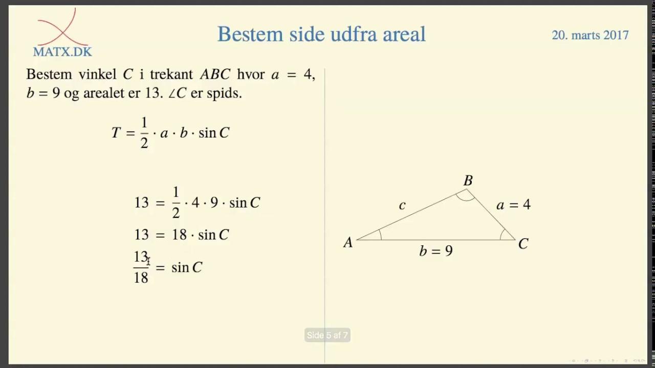 Trigonometri - Bestem vinkel ud fra areal