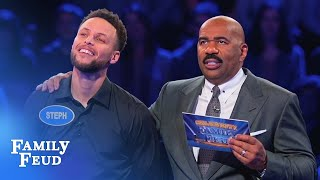 Download Ayesha & Steph Curry SLAM DUNK Fast Money! | Celebrity Family Feud Mp3 and Videos