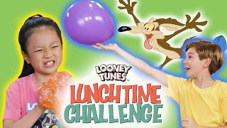 Wile E. Coyote Bubble Wrap Trap Challenge | Looney Tunes Lunchtime Challenge | WB Kids