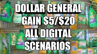DOLLAR GENERAL $5/$20 ALL DIGITAL GAIN SCENARIOS| YOU CAN DO THESE DEALS NOW