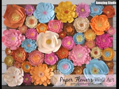 Diy paper flowers wall art youtube diy paper flowers wall art mightylinksfo