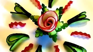 HOW TO MAKE RADISH CUCUMBER FLOWER - VEGETABLE CARVING & CUCUMBER DESIGN - ART IN RADISH