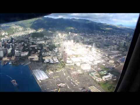 Air view of departure from Honolulu Airport HNL on Island Air flight to Maui